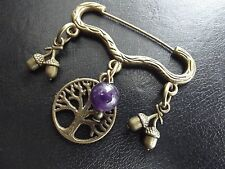 Acorn Amethyst & Tree Brooch    Cloak Pin  Pagan Witch Wicca