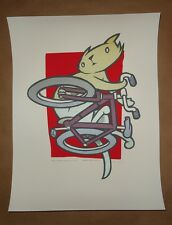 Jay Ryan Mid Air signed poster art screen print Bird Machine bicycle cat bike