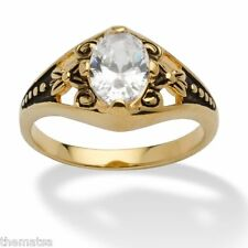 WOMENS ANTIQUED 14K GOLD BIRTHSTONE APRIL DIAMOND RING  5 6 7 8 9 10