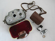 ZEISS IKON 8MM MOVIKON CINE MOVIE CAMERA + LEATHER CASE + LENSES + RANGE FINDER