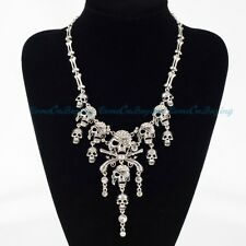 Vintage Silver Chain Skull Skeleton White Crystal Gothic Punk Pendant Necklace
