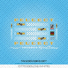 Peugeot Tandem bicyclette decals-transfers-autocollants-gold & white-set 770