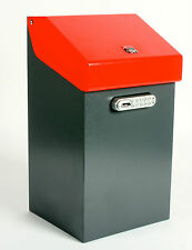 iBin Compact Parcel Delivery Box  /  iBin Postal Courier Box - Colour Grey-Red