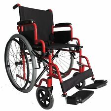 FoxHunter Self Propelled Folding Lightweight Transit Wheelchair Armrest Red New