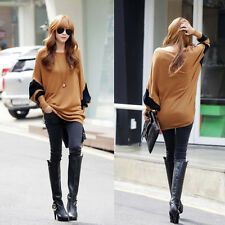 Fashion Lady Girls Cotton Long Sleeve Batwing Loose Pullover T-shirt Top Blouse