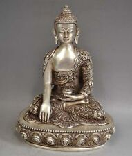 Tibetan Silver Sakyamuni Buddha Statue antique excellent old dragon