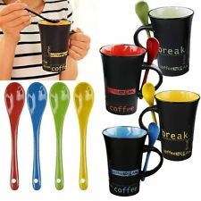 1 Set 4 Pcs Coffee Mug With Spoon Tea Latte Cups Ceramic Kitchen Espresso NEW