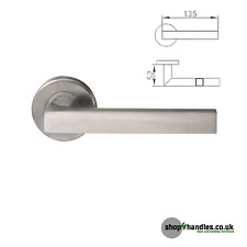 Square Stainless Steel Lever on Rose Door Handle (Sprung)