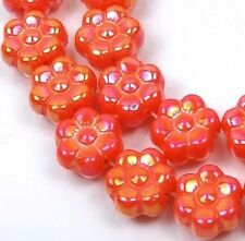 25 Czech Glass Daisy Flower Beads  Opaque Orange - Luster 8mm
