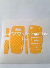 Carbon Gelb Folie Dekor Schlüssel Audi TT A1 8J A6 A3 8p A4 4F S3 S4 B7 Q7 RS