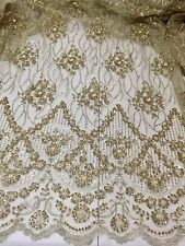"GOLD  MESH W/ EMBROIDERY SEQUINS HAND BEADED LACE FABRIC 52"" WIDE 1 YARD"