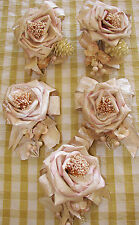 5 Shabby Cottage Chic Paper Rose Roses Christmas Tree Ornaments