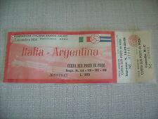 ITALIA ARGENTNA 1954 BIGLIETTO CALCIO RARO PERFETTO OLIMPICO ROMA CURVA SUD
