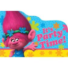 TROLLS INVITATIONS (8) ~ Birthday Party Supplies Stationery Cards Notes Poppy