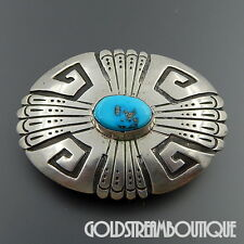 THOMAS TOMMY SINGER (d.) STERLING SILVER OVERLAY TURQUOISE OVAL BELT BUCKLE