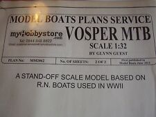 VINTAGE MODEL BOAT PLAN VOSPER MTB MOTOR TORPEDO BOAT MM2062 ALL ORIGINAL