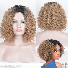 Women's Short Afro Kinky Curly Hair blonde Ombre Black root Middle Parting Wigs