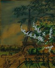 Vintage Original Watercolor and Gouache of Paris Eiffel Tower Illegibly Signed