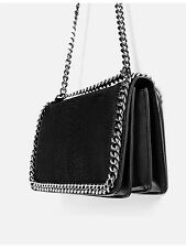 ZARA NEW AW 2016 CROSSBODY BAG WITH EMBOSSED CHAIN BLACK REF. 8132/104