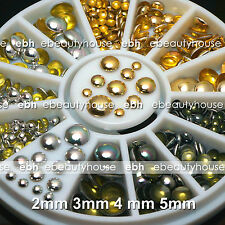 3 Colors Rivets Nail Art Decoration Gold Silver Flat Back Half Round Studs #001L