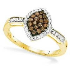 Charming! 10K Yellow Gold Chocolate Brown & White Diamond Marquise Ring .33ct