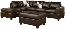 Bonded Leather 3 Piece Espresso Brown Modern Reversible Sectional Sofa