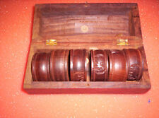 6 pcs Vintage Hand Made Wood Carved Napkin Rings in Box, Made in India
