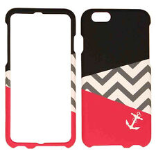 for iPhone 6 (4.7 in) HOT PINK BLACK CHEVRON Hard 2-PCS Snap On Skin Case Cover