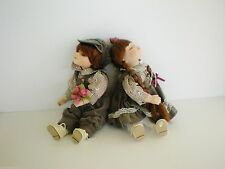 Twin Boy And Girl Sitting Porcelain Soft Body Dolls By T.S. Creations NIB Gray
