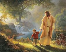 Jesus Walking With Child / Christian 8 x 10 GLOSSY Photo Picture