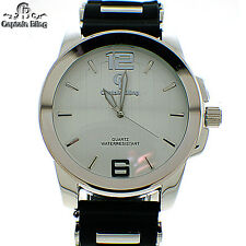 MENS ICED OUT ELEGANT STYLE CAPTIN BLING WATCH W/ SILICONE BAND #W2316 BRAND NEW