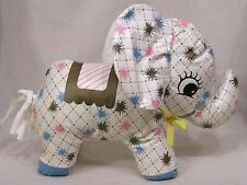 Vintage Oilcloth Elephant Toy Pink Blue Green Starburst Motif on White 1950s
