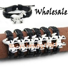 Lot 6 pcs white horse pendant leather bracelet S-107