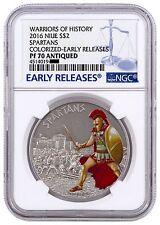 2016 Niue 1oz Antiqued .999 Silver Coin Warriors Spartan Sparta NGC PF70 bullion