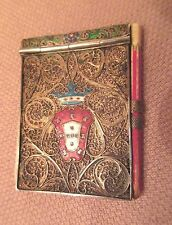 antique 1800s handmade Portuguese sterling filigree enamel notepad card case