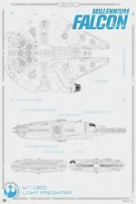 24x36 Star Wars Force Awakens Millennium Falcon Blueprint Poster shrink wrapped