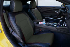 CHEVY CAMARO 2016- BLACK/CHARCOAL IGGEE S.LEATHER CUSTOM FIT FRONT SEAT COVER