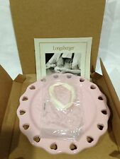 Longaberger Pink Sweetest Heart Candle Plate with White Ribbon to Weave Around