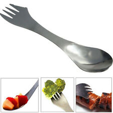 1X Camping Hiking Utensils Spork Combo Travel Gadget Spoon Fork Knife Cutlery~#K