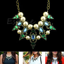 Charm Chunky Crystal Statement  Bib Green Pearl Necklace Collar Choker Pendant