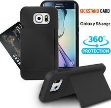 Credit Card Slot Holder Hybrid Armor Phone Cover Stand Case For Galaxy S6 Edge