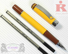 pirre paul's RB 50 high quality roller ball pen YELLOW+ 2 POKY refills BLACK ink