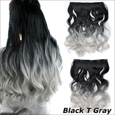 Gray Dyed Cosplay Long Full Head One Piece Wave Curly Clip In Hair Extensions