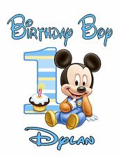 Personalized Birthday T Shirt Any age any name Baby 1st Mickey Mouse Boys