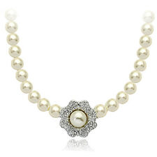 STUNNING 18K WHITE GOLD PLATED & GENUINE SWAROVSKI CRYSTAL & PEARL  NECKLACE