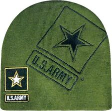 Embroidered US Army Military Blue Logo Star Beanie Stocking Cap Skully Hat Green