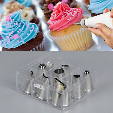 9 pieces cake decorating extra large cupcake icing piping nozzles tips box set