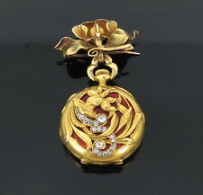 Art Nouveau CH Meylan Old Mine Cut Diamond & Enamel 18K Gold Pocket Watch & Fob