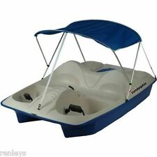 Sun Dolphin 5 Person 5 Seat Pedal/Paddle Boat w/ Canopy Sun Pontoon Cover Lake