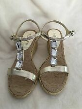 Womens Ralph Lauren Strappy Dressy Sandals with Rhinestones, Gold, Size 7B